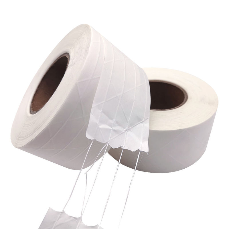 White Gummed Kraft Paper Tape , Fiberglass Paper Packing Tape Water Activated Logo Printing